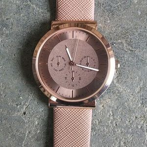 Accutime Rose Gold and Tan Watch